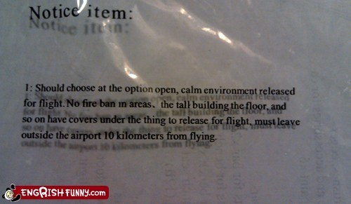 candle engrish flying Hot Air Balloon notice