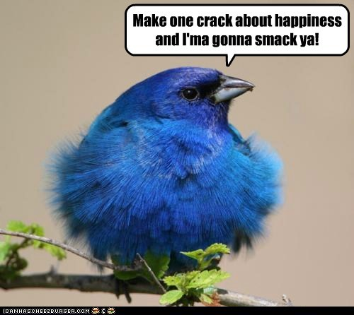 Make one crack about happiness and I'ma gonna smack ya!