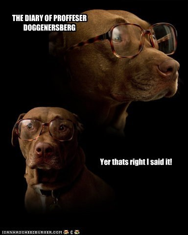 THE DIARY OF PROFFESER DOGGENERSBERG Yer thats right I said it!