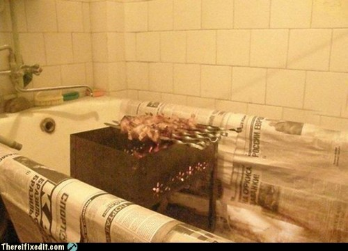 bathroom bbq cooking kludge safety first wtf