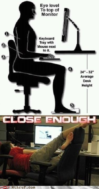 Close Enough,posture at work,proper stance