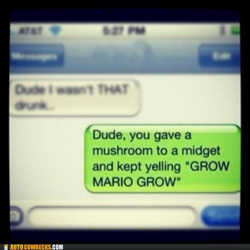 drunk last night mario mushroom video games