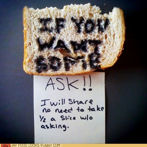 bread half note steal thief