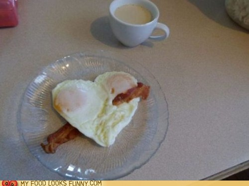 bacon breakfast eggs heart love Valentines day