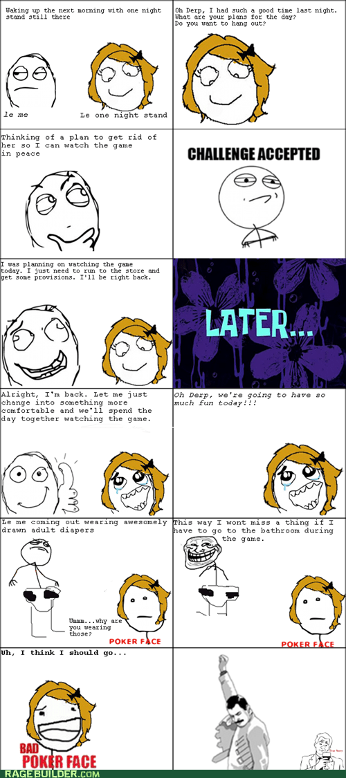 Challenge Accepted,depends,one night stand,Rage Comics,relationships