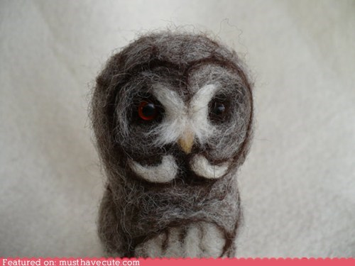 felted figurine moustache needle felted Owl wool