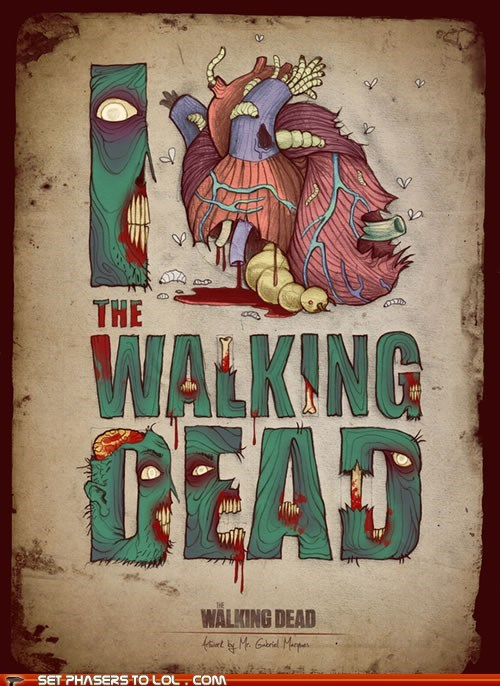 dead heart i heart poster The Walking Dead zombie - 5845286400