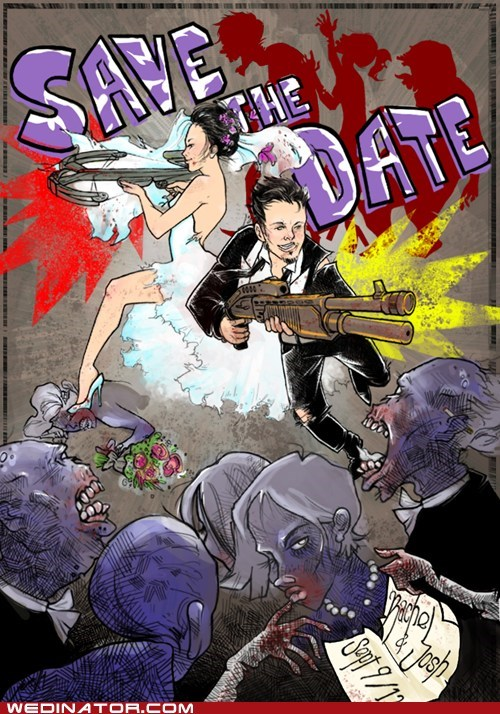Badass,zombie,save the date,illustration,card,couple