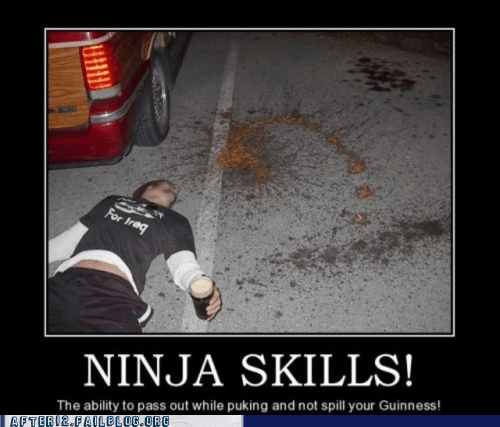demotivational drunk ninja passed out puking vomiting - 5845495808