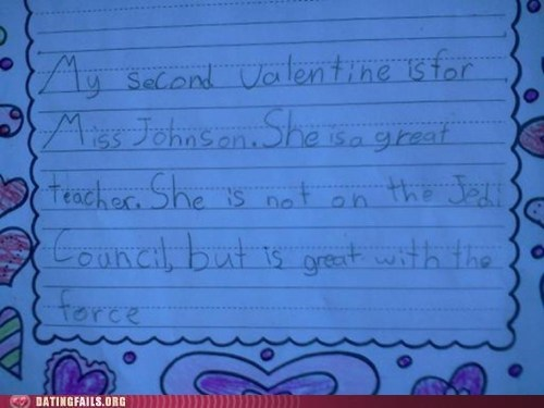 Jedi,school,star wars,teacher,the force,valentine,Valentines day