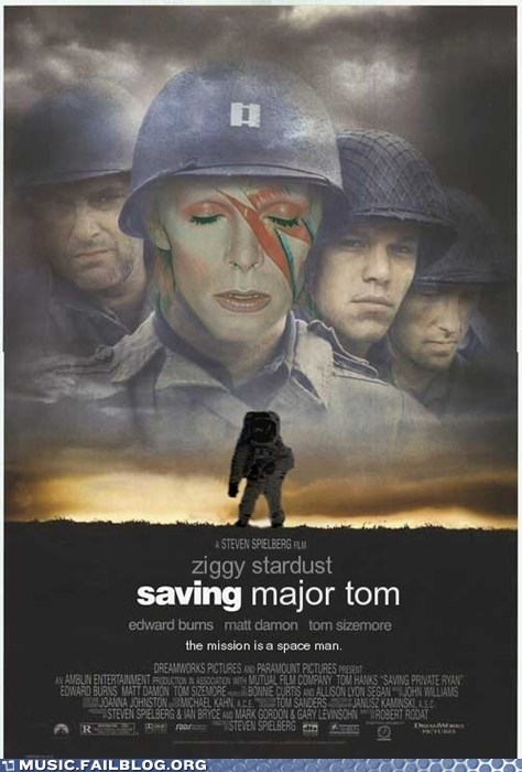 david bowie,major tom,mash up,movies,saving private ryan,space oddity,ziggy stardust