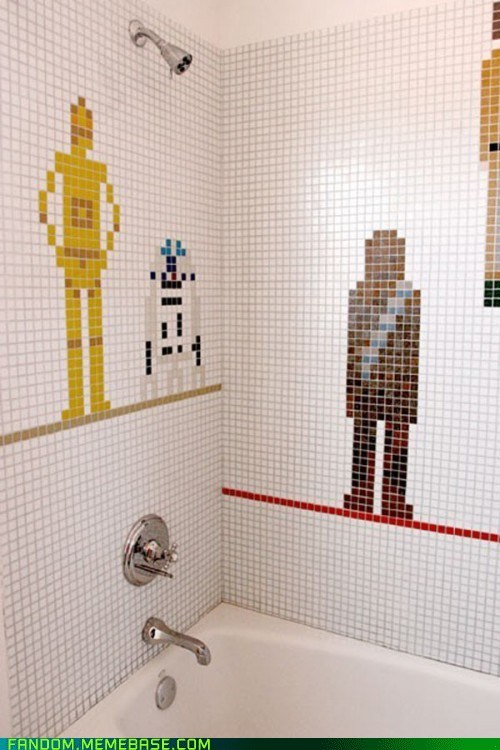 bath,bathtub,Fan Art,shower,star wars,tile
