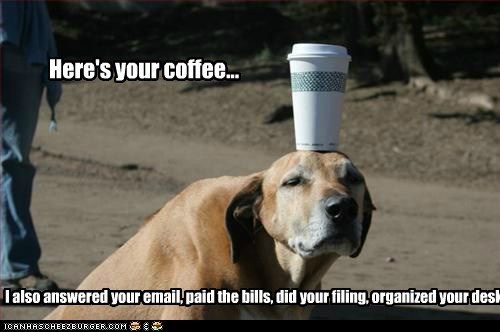 Here's your coffee... I also answered your email, paid the bills, did your filing, organized your desk