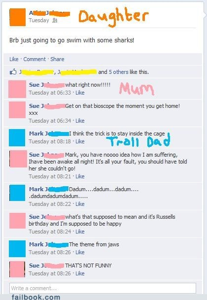 dad,mom,parents,sharks,swimming,troll dad,trololo