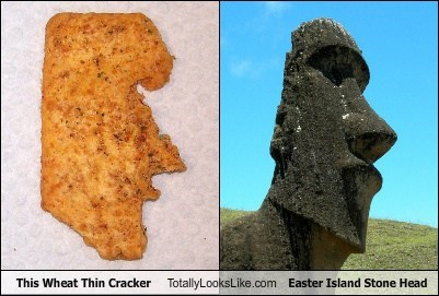 cracker,easter island,funny,stone head,TLL,wheat thin
