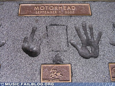 concrete eff you handprints lemmy lemmy kilmister Motörhead Music FAILS the bird