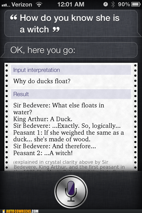 duck,monty python,Movie,siri,witch