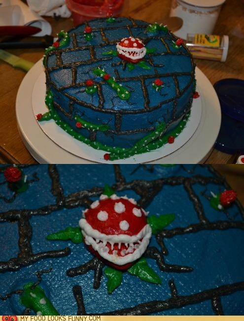 cake,decorated,frosting,pirahna plant,super mario