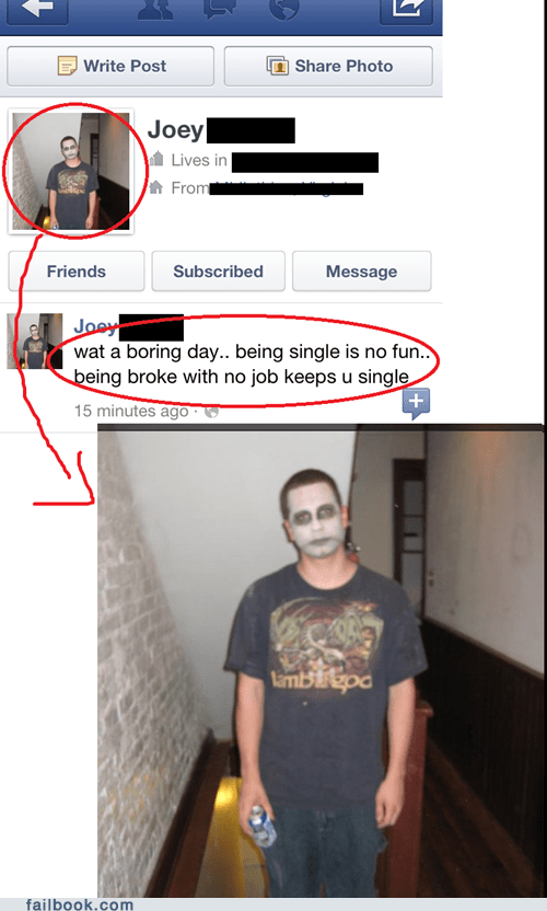 face paint,forever alone,relationship,unemployed