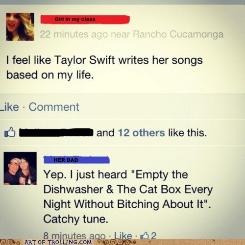 chores,dad,facebook,taylor swift