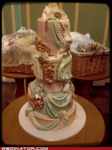 funny wedding photos marie antoinette wedding cake - 5849869568