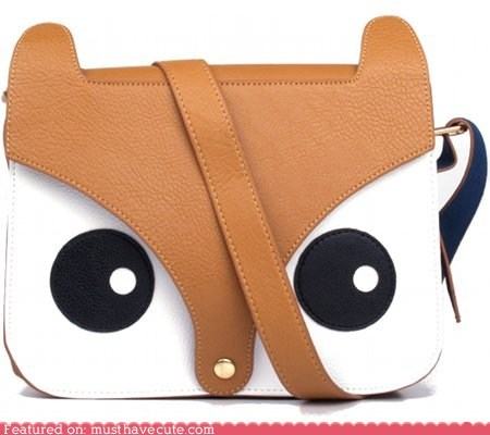 bag eyes face flap fox purse strap