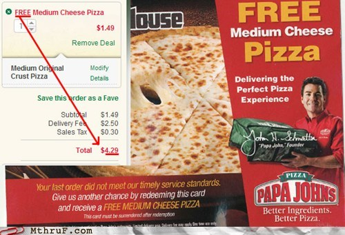not free not the same papa johns taxed - 5850214144