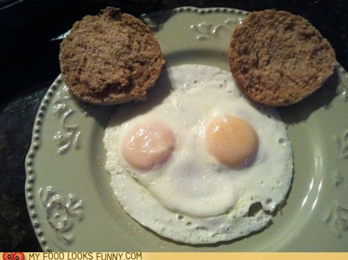 breakfast,ears,eggs,english muffin,face,mickey mouse,smile