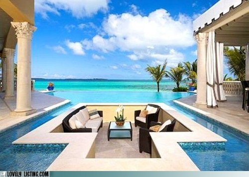 infinity pool living room pit pool Tropical - 5850311936