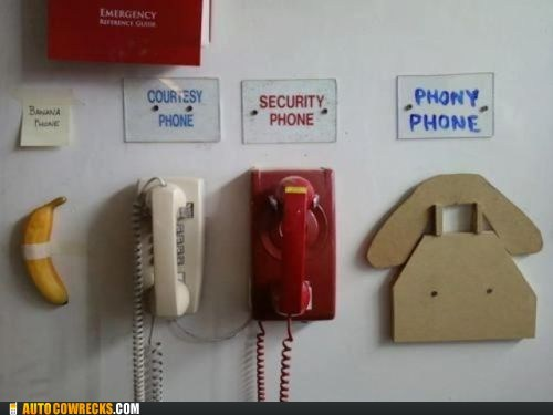 banana phone courtesy phone emergency fake phone phony phone security phone
