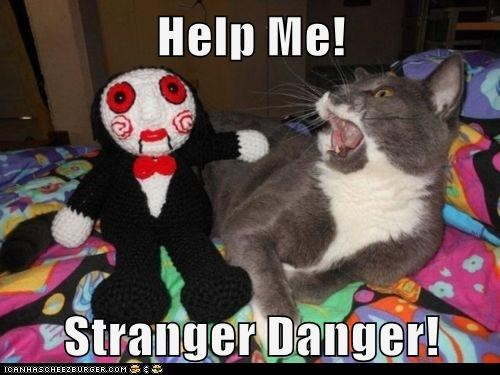 amigurimi caption captioned cat character danger help mask saw scared stranger stranger danger - 5850374400