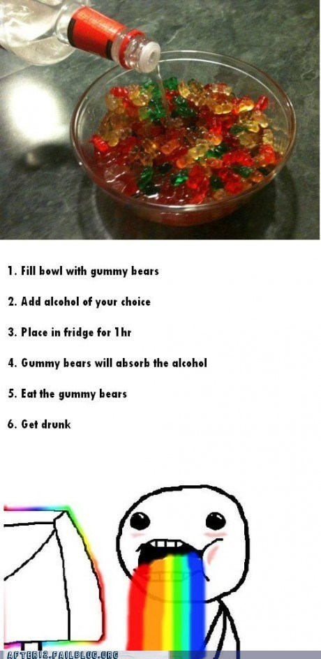 gummi bears,rainbows,recipe,vodka