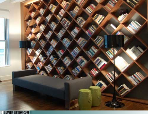 bookcase books cells couch diagonal