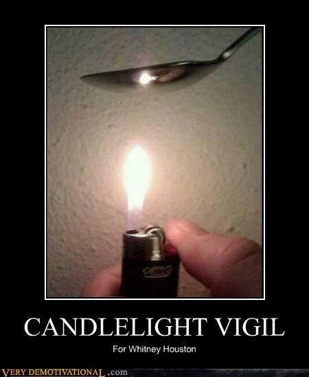 candlelight,drugs,hilarious,vigil,whitney houston