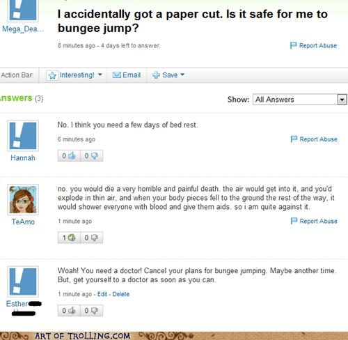 bungee jump Death paper cut Yahoo Answer Fails - 5854174976
