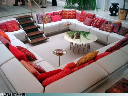 couches nest pillows sunken living room