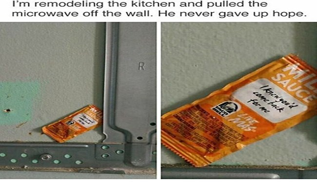 sauce packet waiting behind microwave to be found again