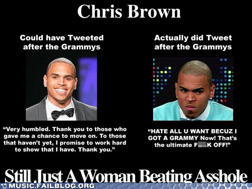 a-hole chris brown Grammys Hall of Fame hitting girls is bad mmkay tweet twitter - 5855444480