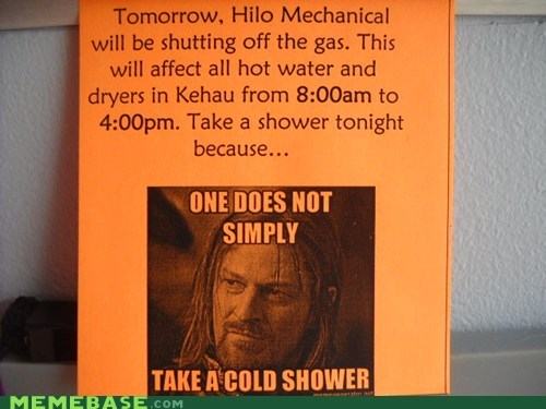 cold,electicity,gas,Heat,one does not simply,shower