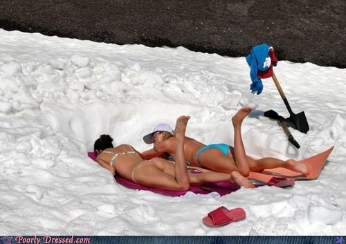 bikini,hey ladies,hypothermia,snow,tanning