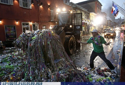 beads cleanup Mardi Gras messy oh god Party