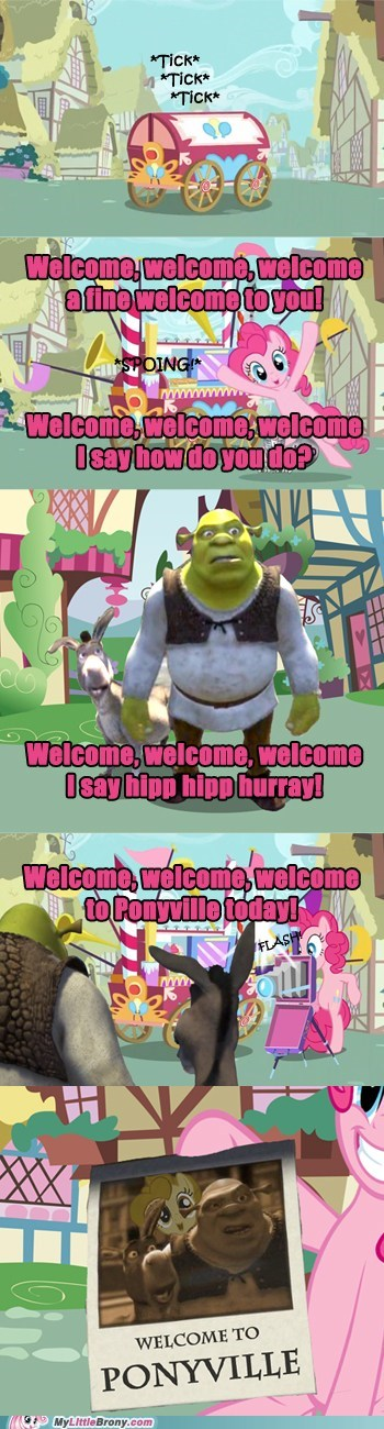 best of week,comic,comics,crossover,pinkie pie,ponyville,shrek,welcome