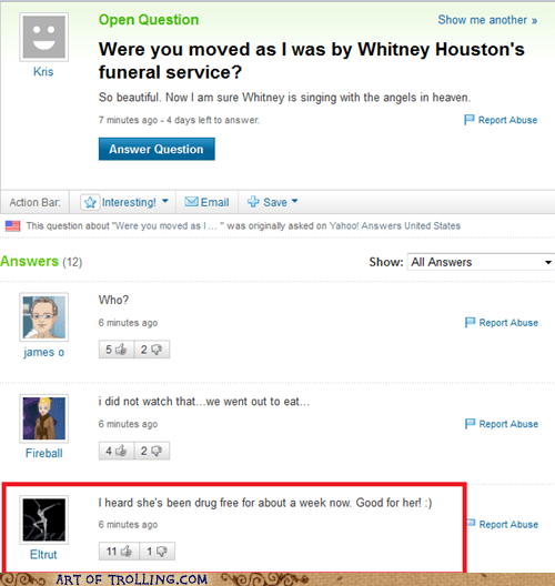 Yahoo Answers funeral sadness is not shared by all in this funny picture screen grab off of yahoo answers.