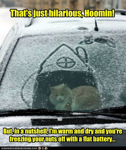That's just hilarious, Hoomin! But, in a nutshell, I'm warm and dry and you're freezing your nuts off with a flat battery...