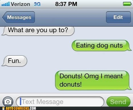 auto correct,dog nuts,dogs,donuts,food,nuts