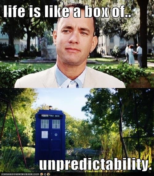 box of chocolate,doctor who,Forrest Gump,tardis,tom hanks,unpredictability