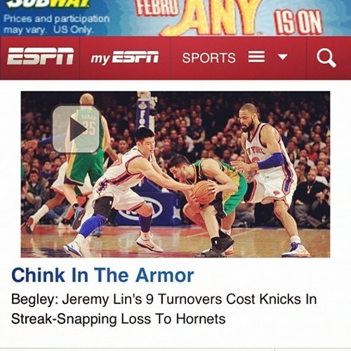 Chink in the Armor,espn,Follow Up,hornets,Jeremy Lin,knicks