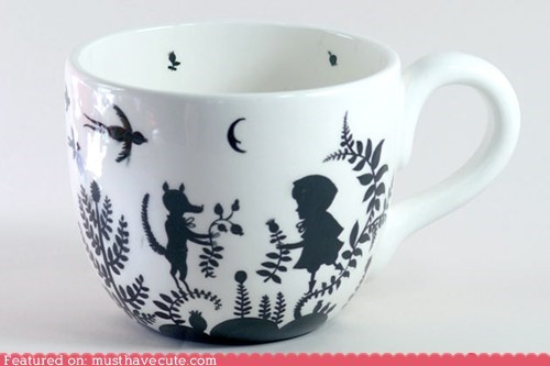 black and white print silhouette story book teacup