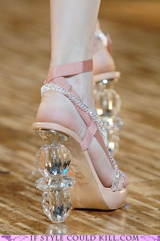 crazy shoes glass heels runway - 5864860672