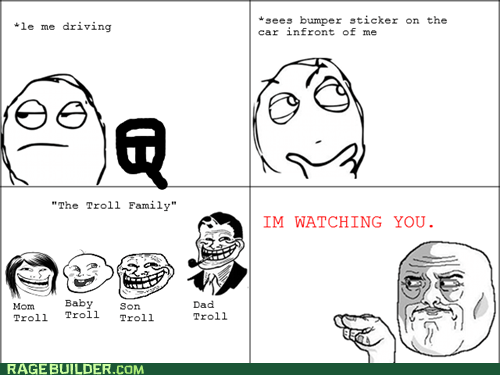 bumper sticker Rage Comics troll watching you - 5864913664